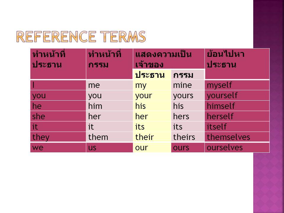 Reference Terms ทำหน้าที่ประธาน ทำหน้าที่กรรม แสดงความเป็นเจ้าของ
