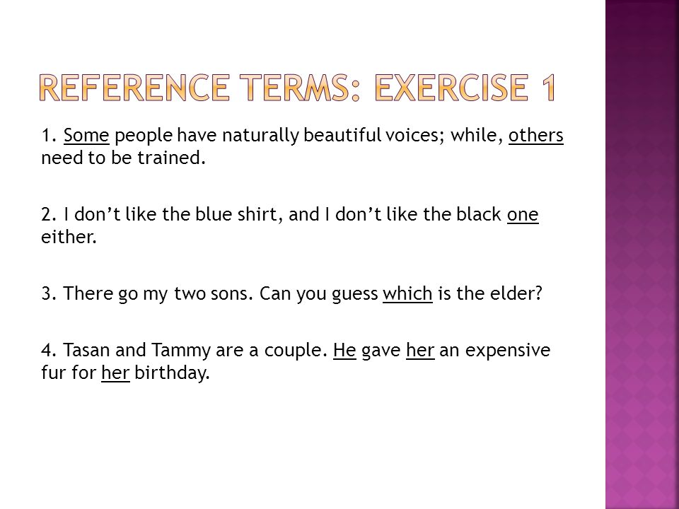 Reference Terms: Exercise 1