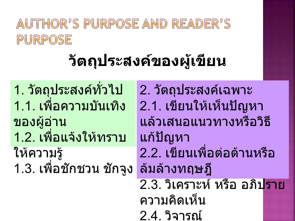 Author's Purpose and Reader's Purpose