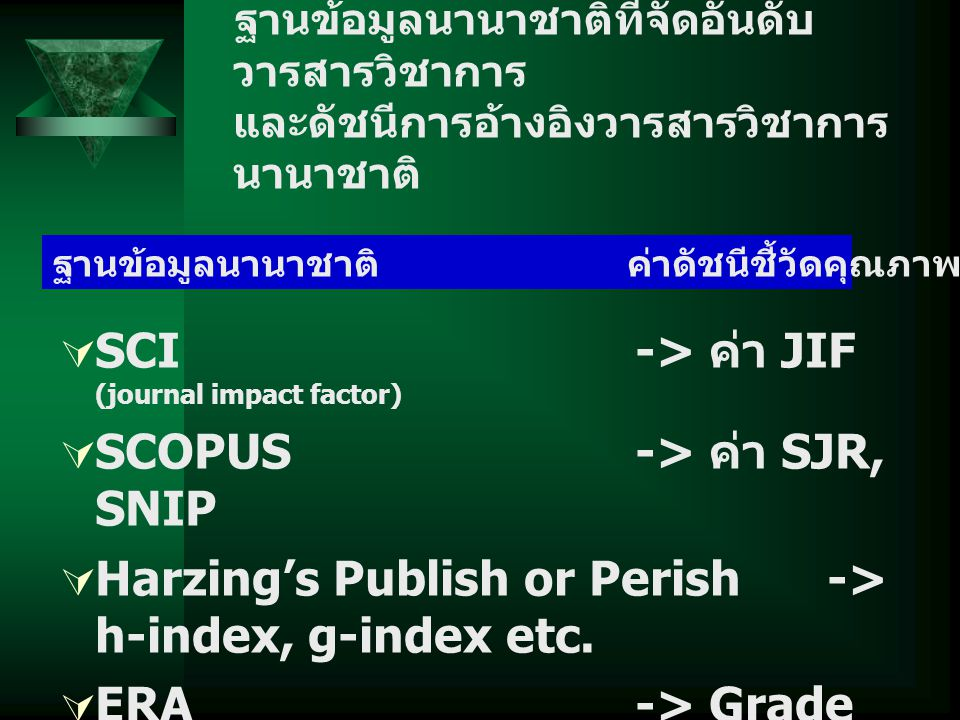 SCI -> ค่า JIF (journal impact factor) SCOPUS -> ค่า SJR, SNIP