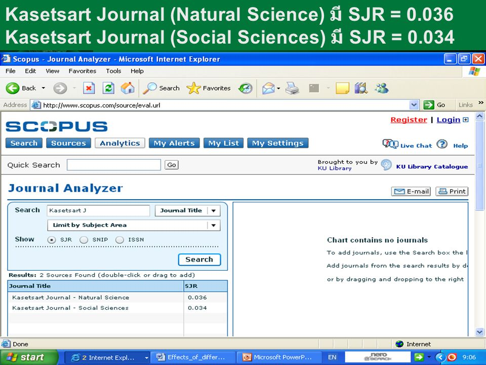 Kasetsart Journal (Natural Science) มี SJR = 0.036