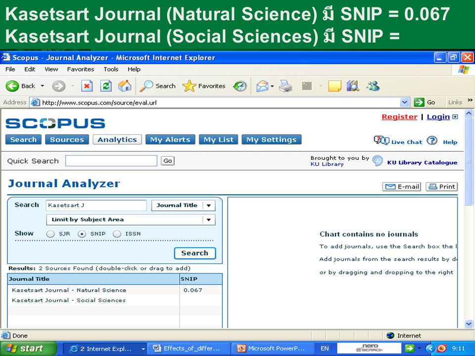 Kasetsart Journal (Natural Science) มี SNIP = 0.067