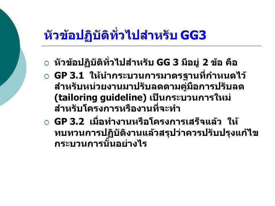 หัวข้อปฏิบัติทั่วไปสำหรับ GG3
