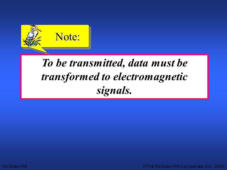 Note: To be transmitted, data must be transformed to electromagnetic signals.