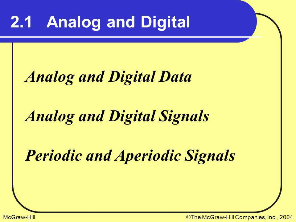 2.1 Analog and Digital Analog and Digital Data. Analog and Digital Signals.