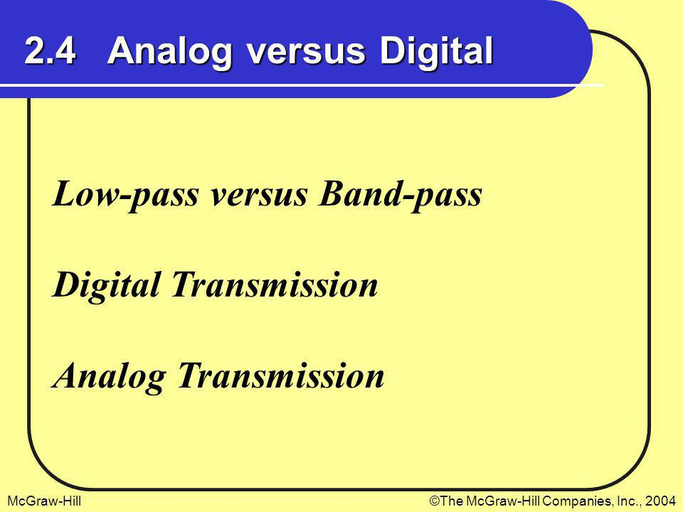 2.4 Analog versus Digital Low-pass versus Band-pass Digital Transmission Analog Transmission