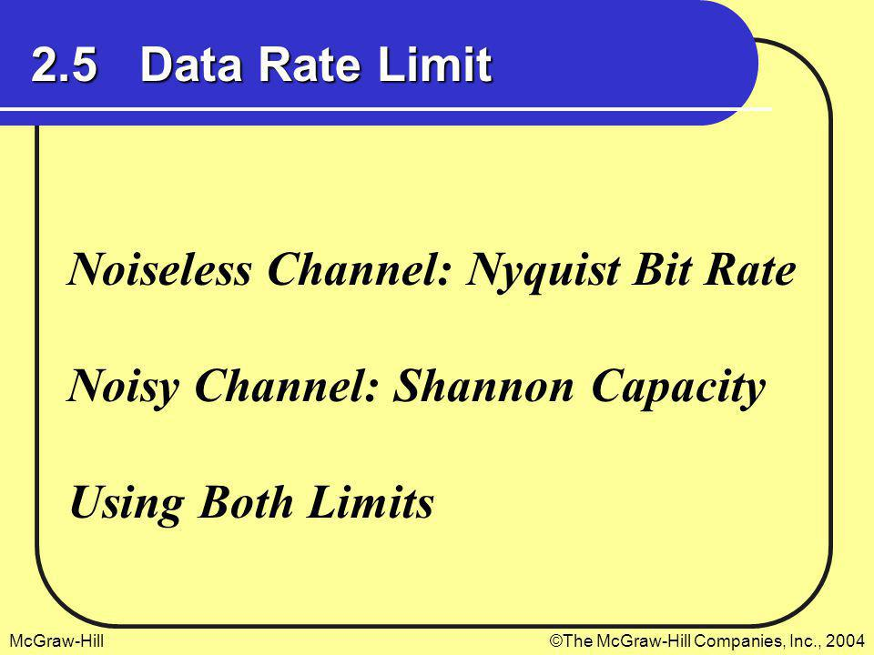 2.5 Data Rate Limit Noiseless Channel: Nyquist Bit Rate.
