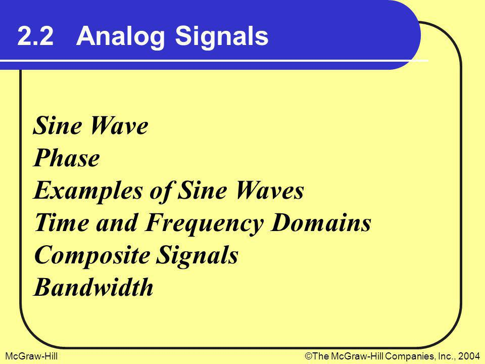 2.2 Analog Signals Sine Wave. Phase. Examples of Sine Waves. Time and Frequency Domains. Composite Signals.
