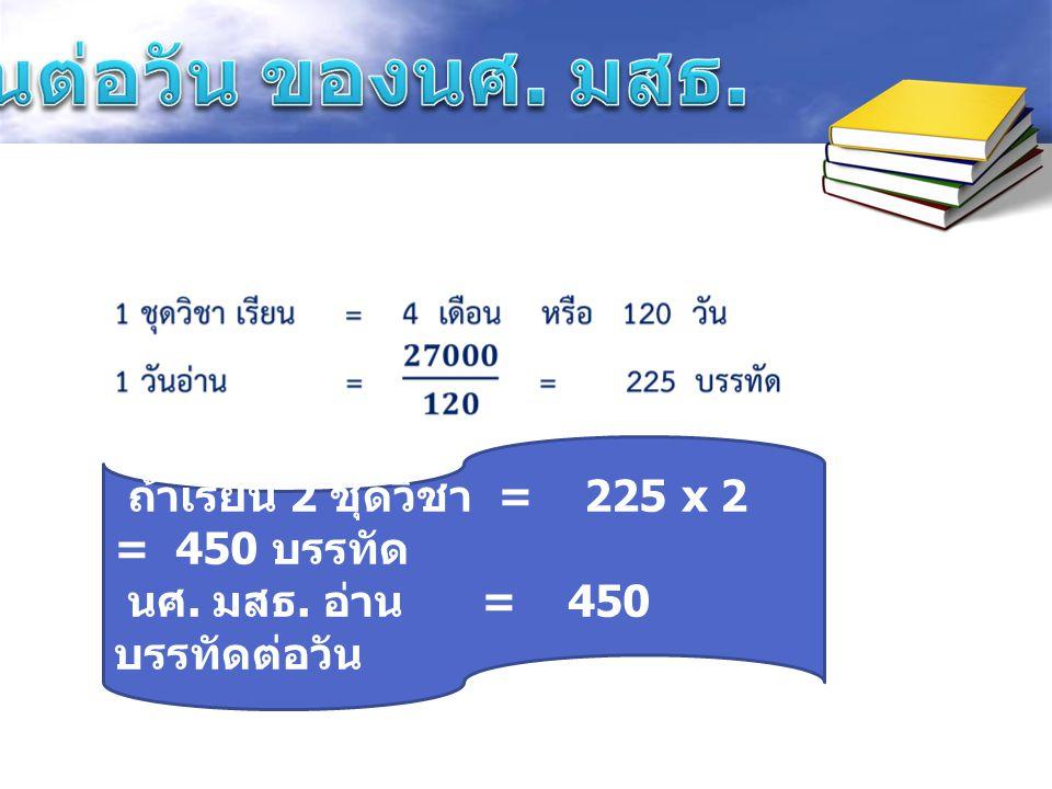 อ่านต่อวัน ของนศ. มสธ. ถ้าเรียน 2 ชุดวิชา = 225 x 2 = 450 บรรทัด