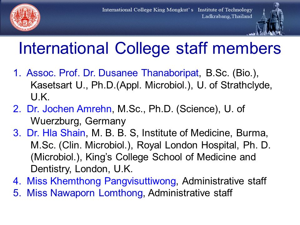 International College staff members