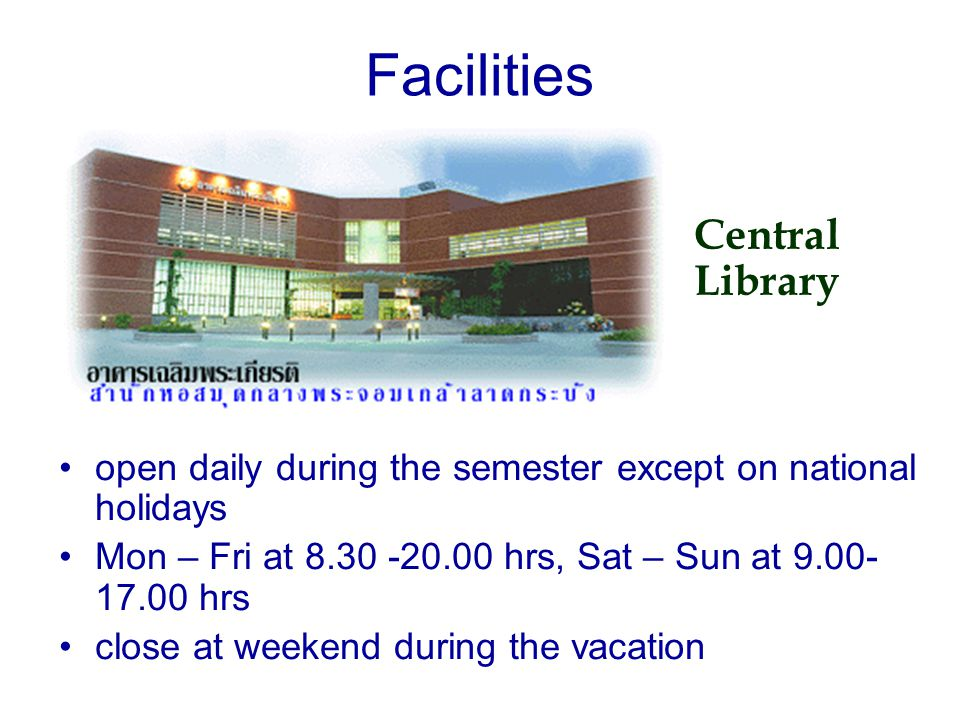 Facilities Central Library