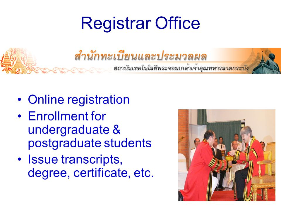 Registrar Office Online registration