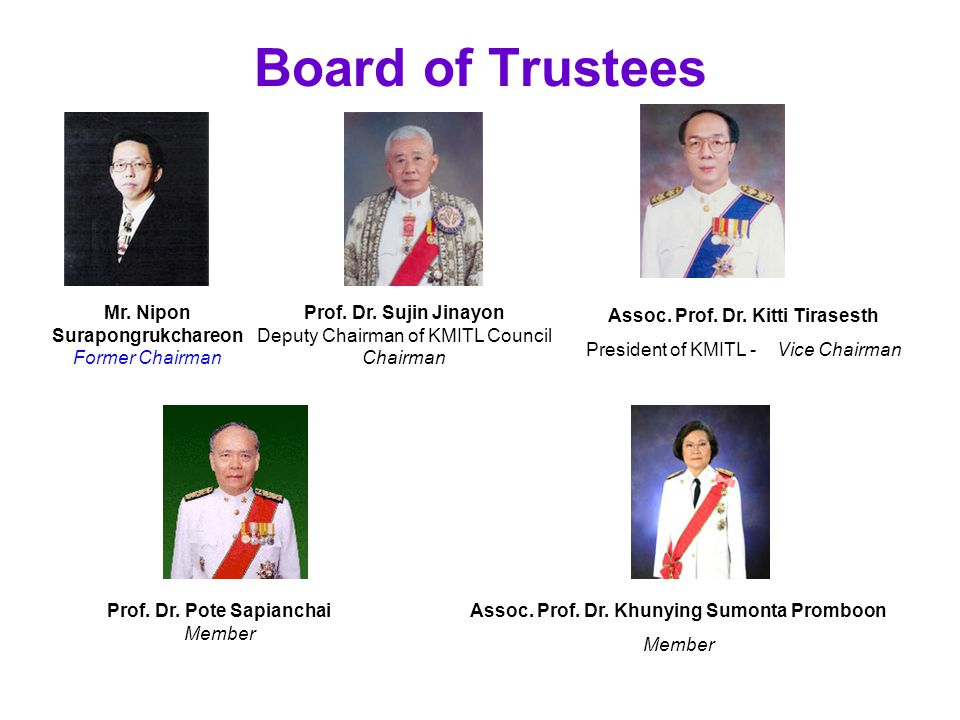 Board of Trustees Mr. Nipon Surapongrukchareon Former Chairman