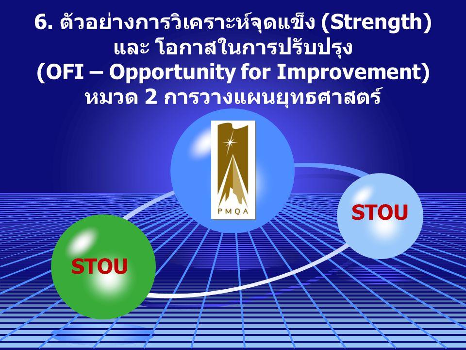 6. ตัวอย่างการวิเคราะห์จุดแข็ง (Strength) และ โอกาสในการปรับปรุง (OFI – Opportunity for Improvement) หมวด 2 การวางแผนยุทธศาสตร์