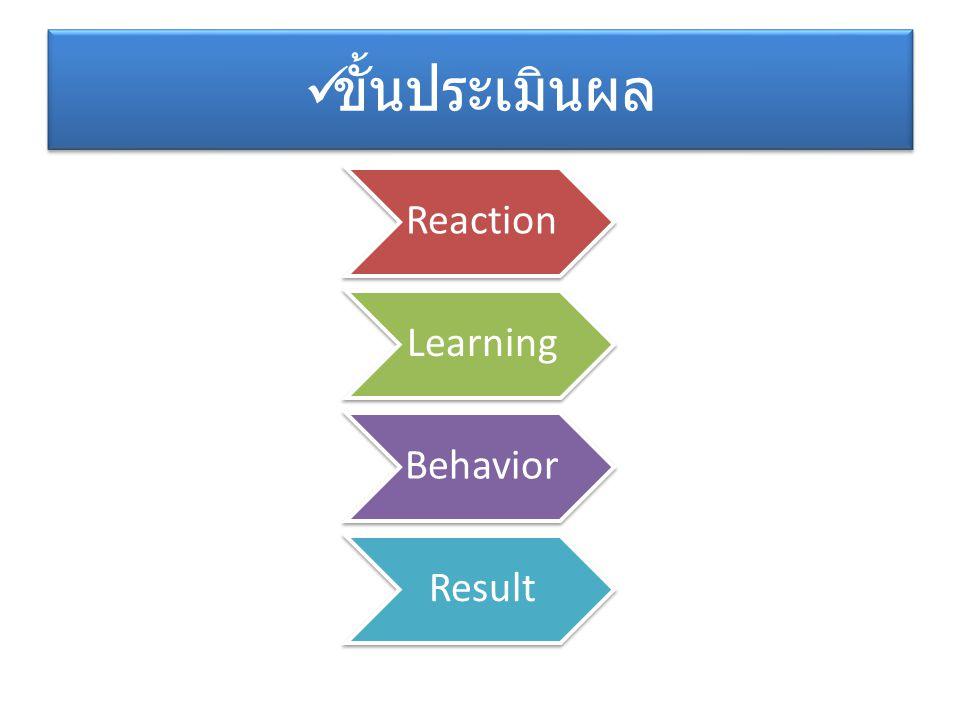 ขั้นประเมินผล Reaction Learning Behavior Result