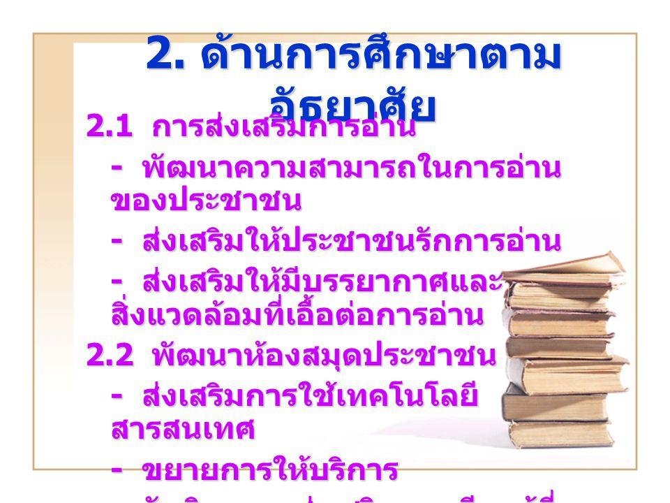2. ด้านการศึกษาตามอัธยาศัย