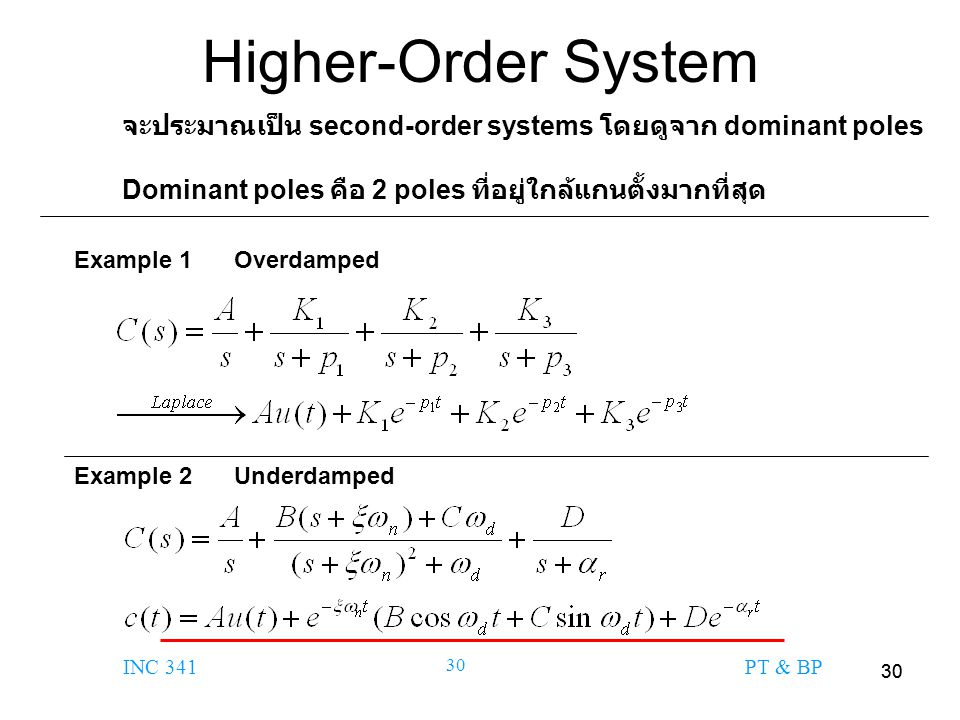 Higher-Order System จะประมาณเป็น second-order systems โดยดูจาก dominant poles. Dominant poles คือ 2 poles ที่อยู่ใกล้แกนตั้งมากที่สุด.