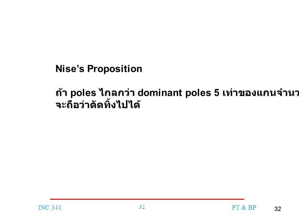 Nise's Proposition ถ้า poles ไกลกว่า dominant poles 5 เท่าของแกนจำนวนจริง จะถือว่าตัดทิ้งไปได้