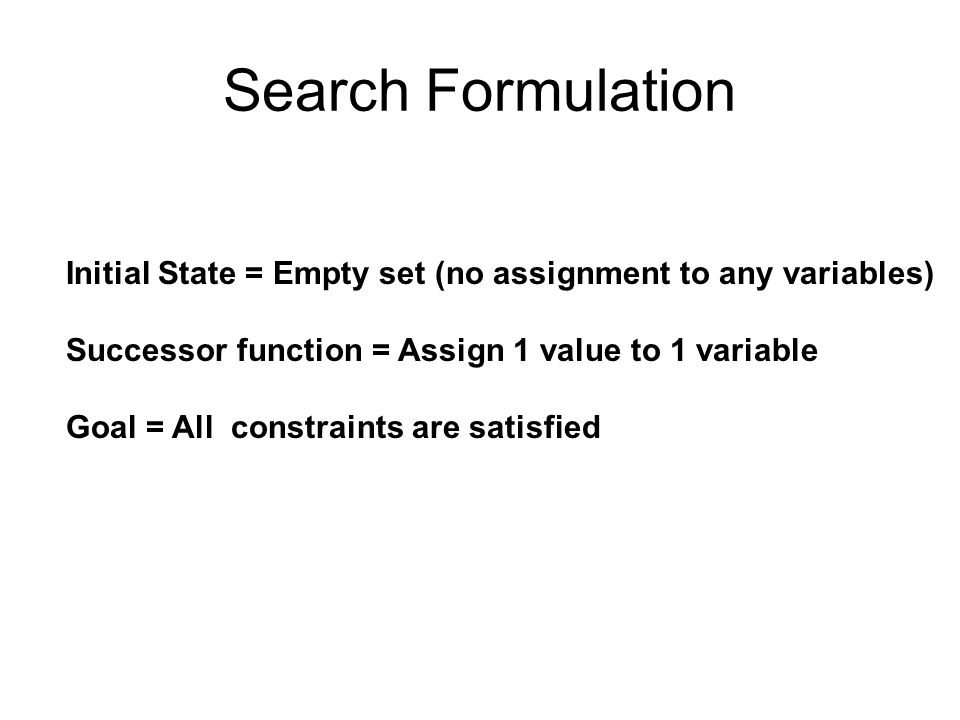 Search Formulation Initial State = Empty set (no assignment to any variables) Successor function = Assign 1 value to 1 variable.