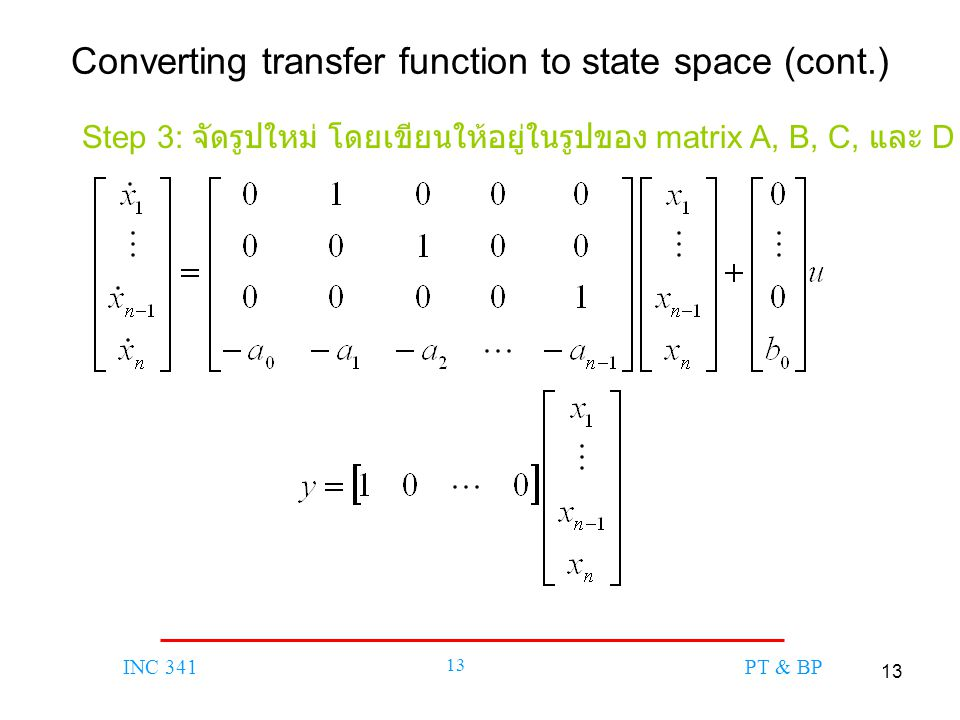 Converting transfer function to state space (cont.)