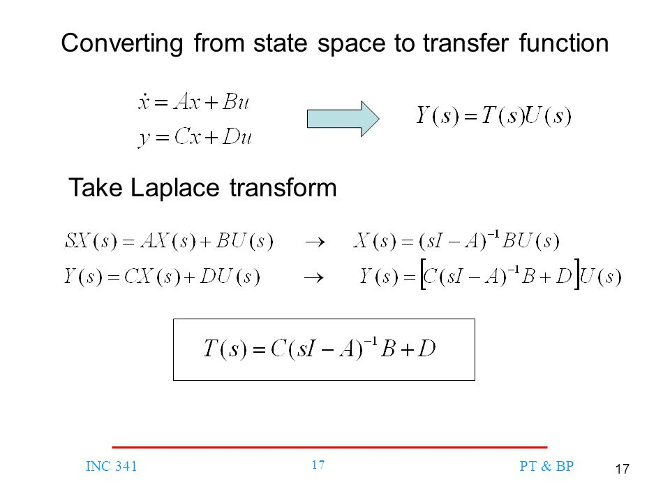 Converting from state space to transfer function