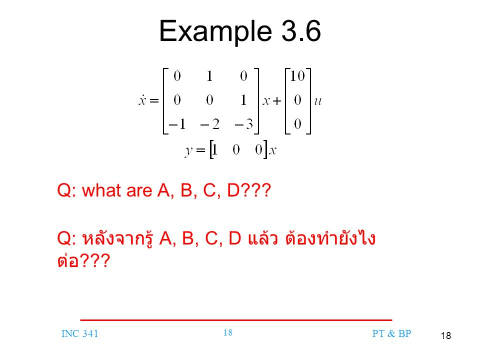 Example 3.6 Q: what are A, B, C, D