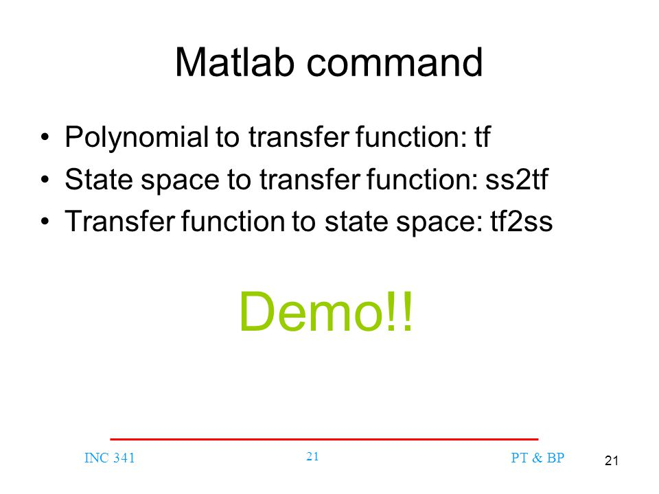 Matlab command Polynomial to transfer function: tf