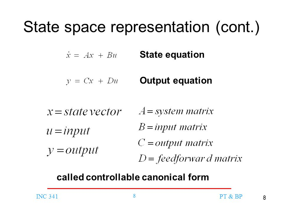 State space representation (cont.)
