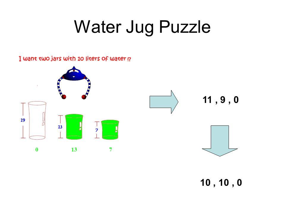 Water Jug Puzzle 11 , 9 , 0 10 , 10 , 0