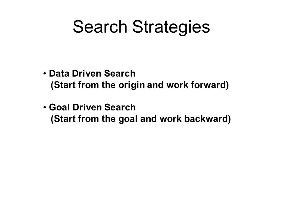 Search Strategies Data Driven Search
