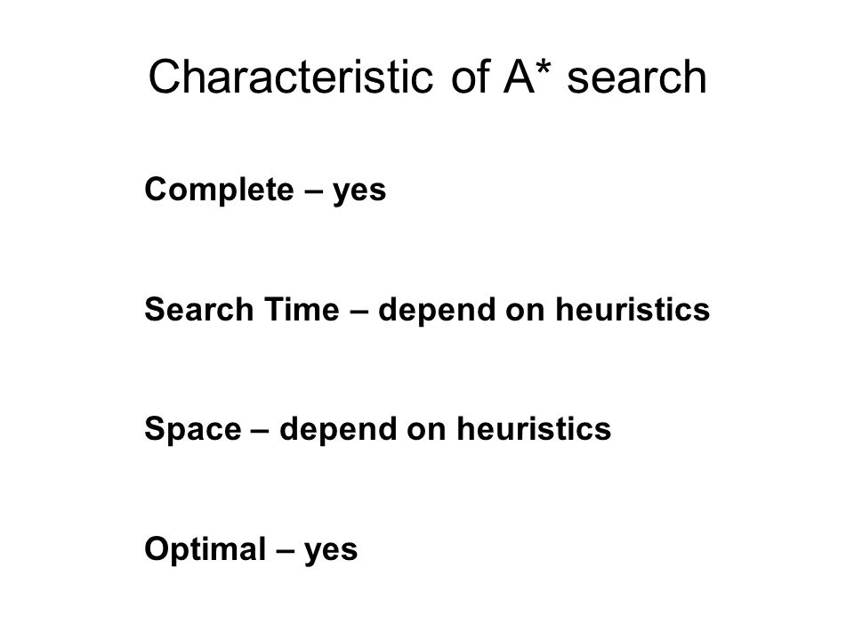 Characteristic of A* search