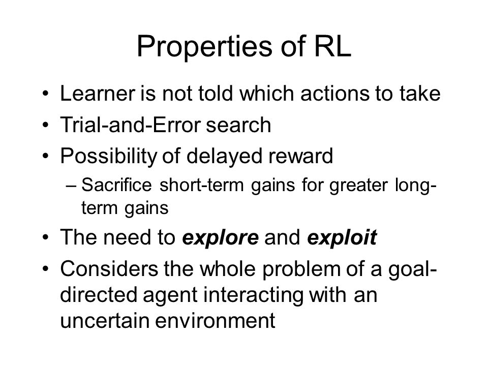 Properties of RL Learner is not told which actions to take