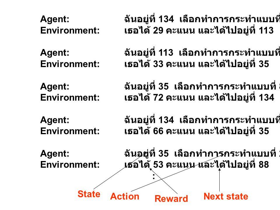 Agent: ฉันอยู่ที่ 134 เลือกทำการกระทำแบบที่ 12