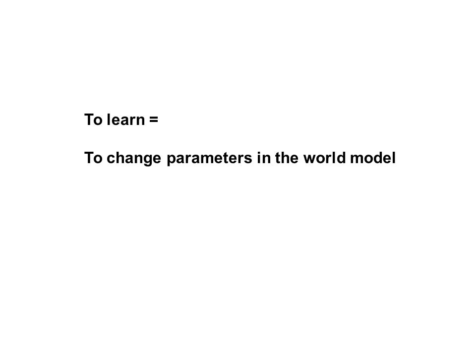 To learn = To change parameters in the world model