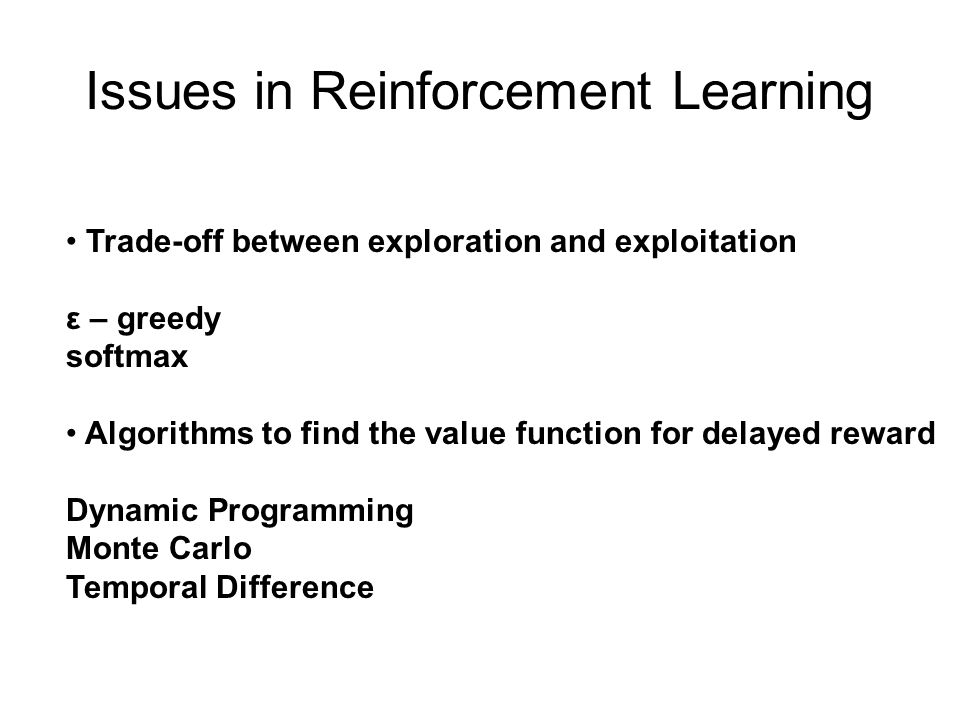 Issues in Reinforcement Learning
