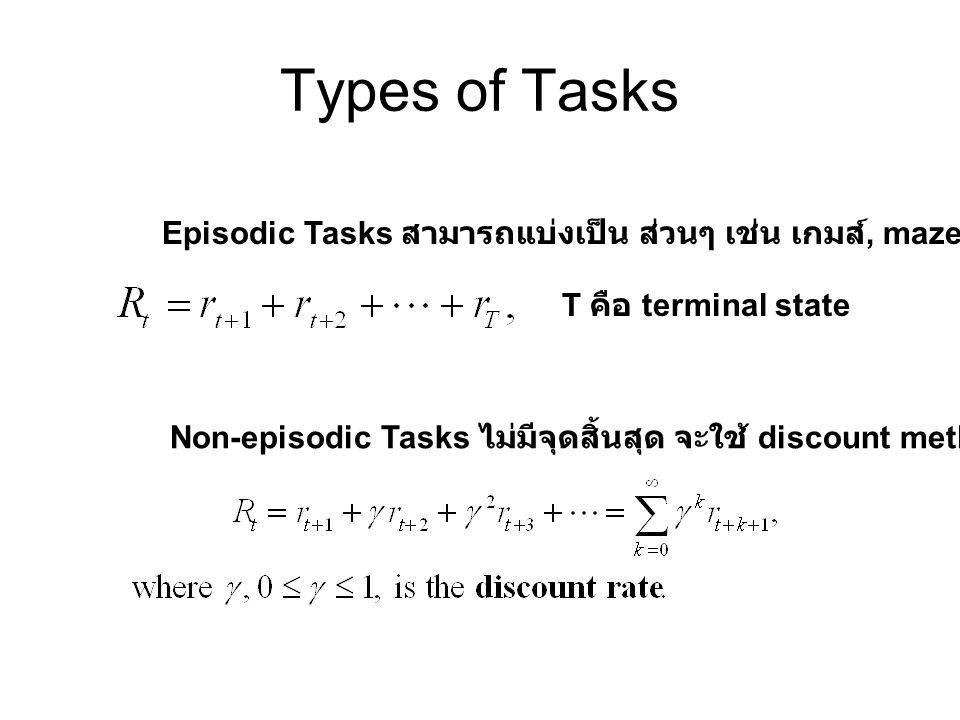 Types of Tasks Episodic Tasks สามารถแบ่งเป็น ส่วนๆ เช่น เกมส์, maze