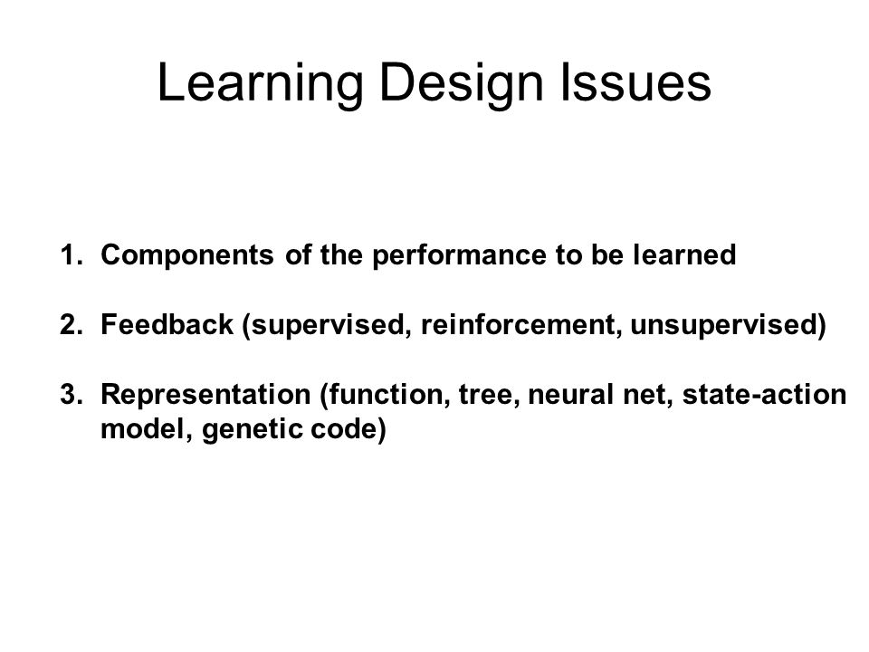 Learning Design Issues
