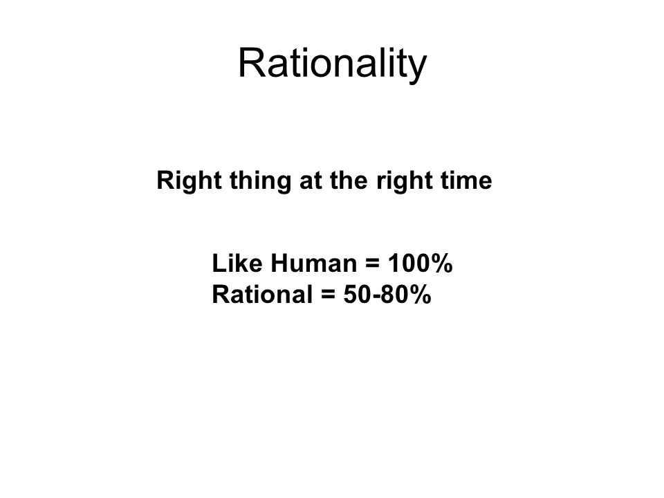 Rationality Right thing at the right time Like Human = 100%