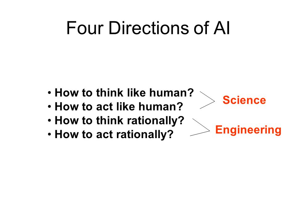 Four Directions of AI How to think like human How to act like human