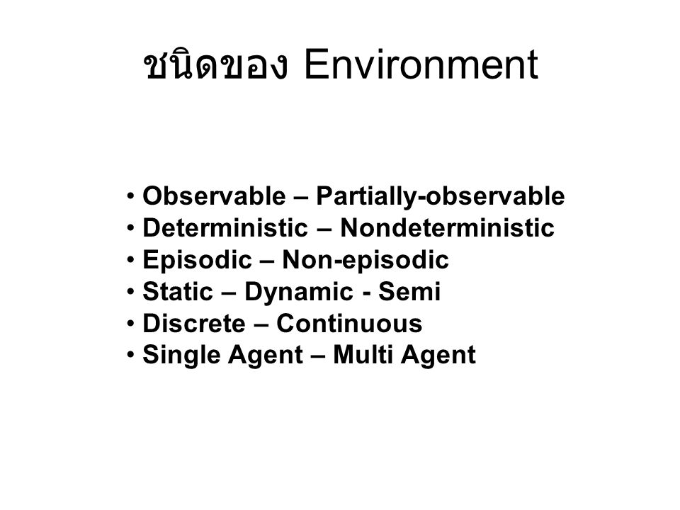 ชนิดของ Environment Observable – Partially-observable