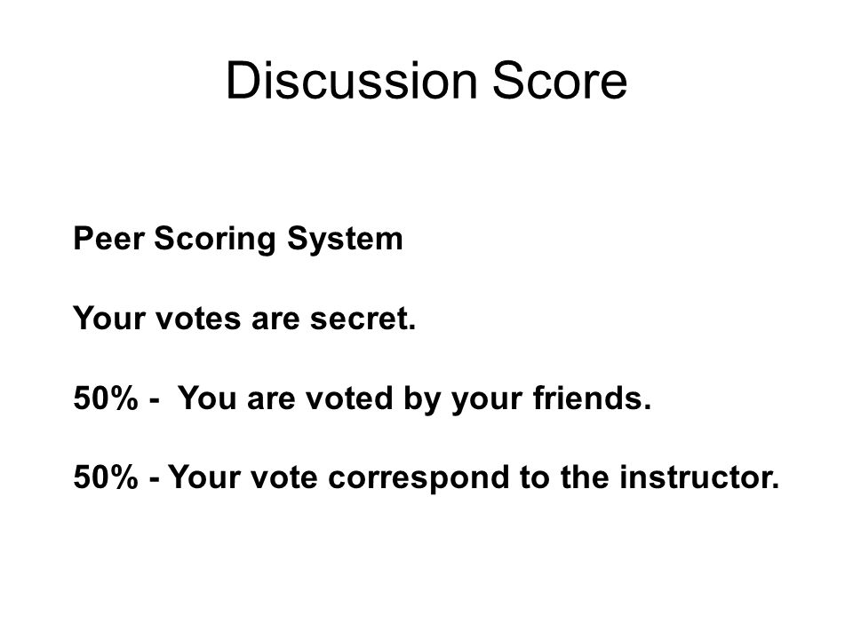 Discussion Score Peer Scoring System Your votes are secret.