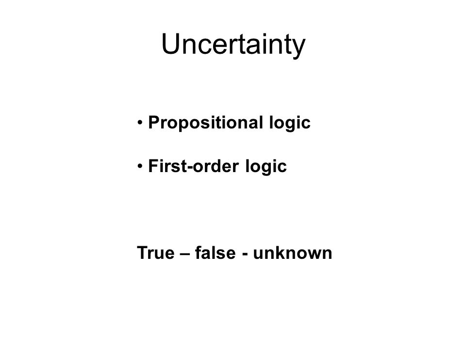 Uncertainty Propositional logic First-order logic