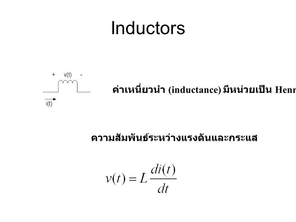 Inductors ค่าเหนี่ยวนำ (inductance) มีหน่วยเป็น Henry (H)
