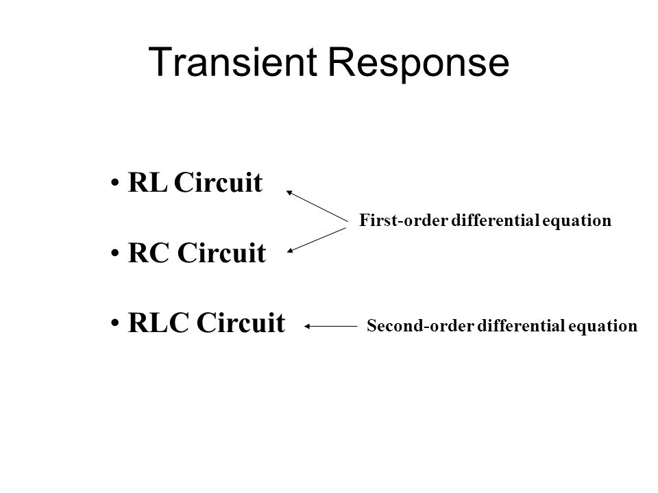 Transient Response RL Circuit RC Circuit RLC Circuit