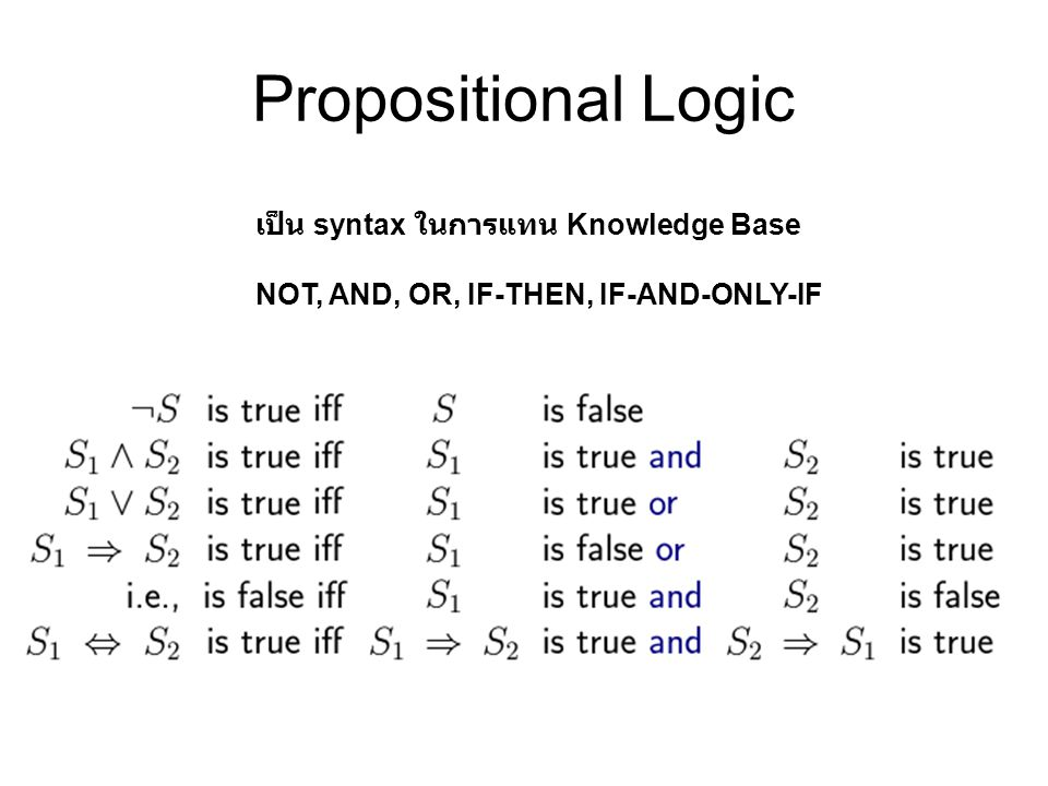 Propositional Logic เป็น syntax ในการแทน Knowledge Base