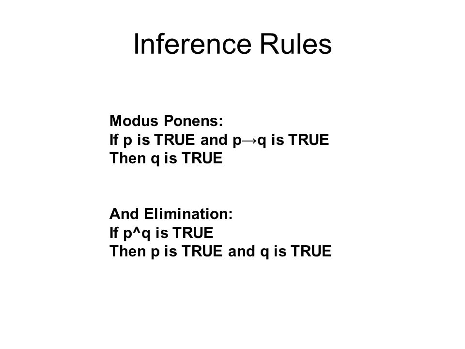 Inference Rules Modus Ponens: If p is TRUE and p→q is TRUE