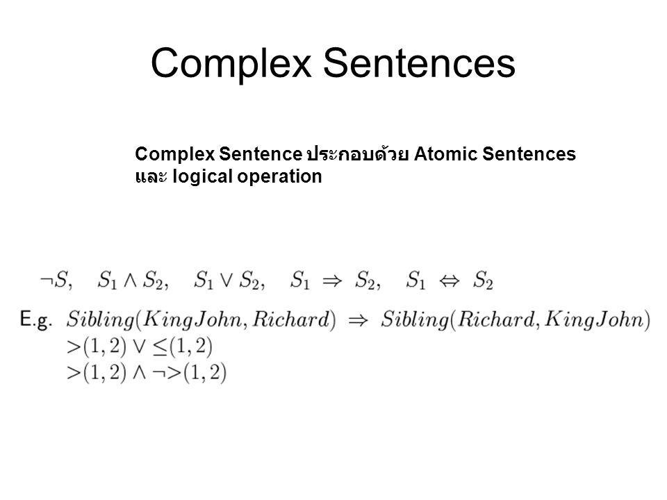 Complex Sentences Complex Sentence ประกอบด้วย Atomic Sentences