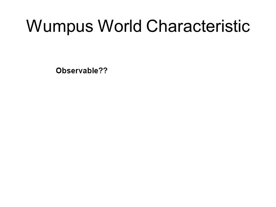 Wumpus World Characteristic