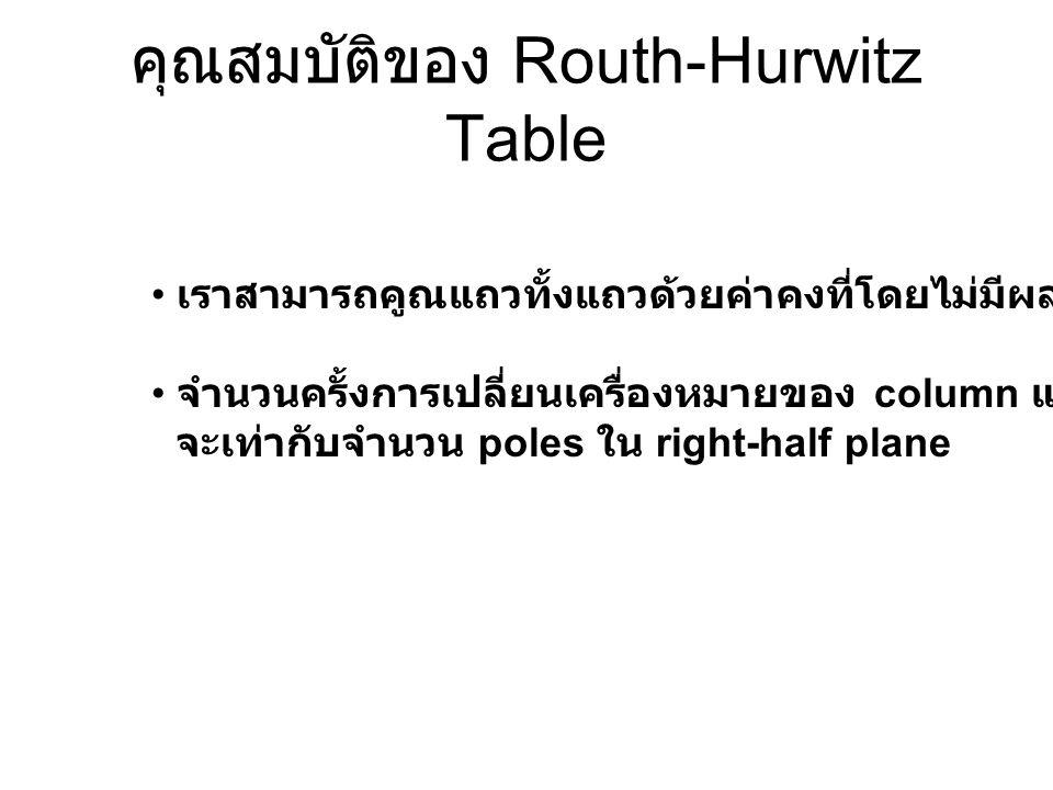 คุณสมบัติของ Routh-Hurwitz Table