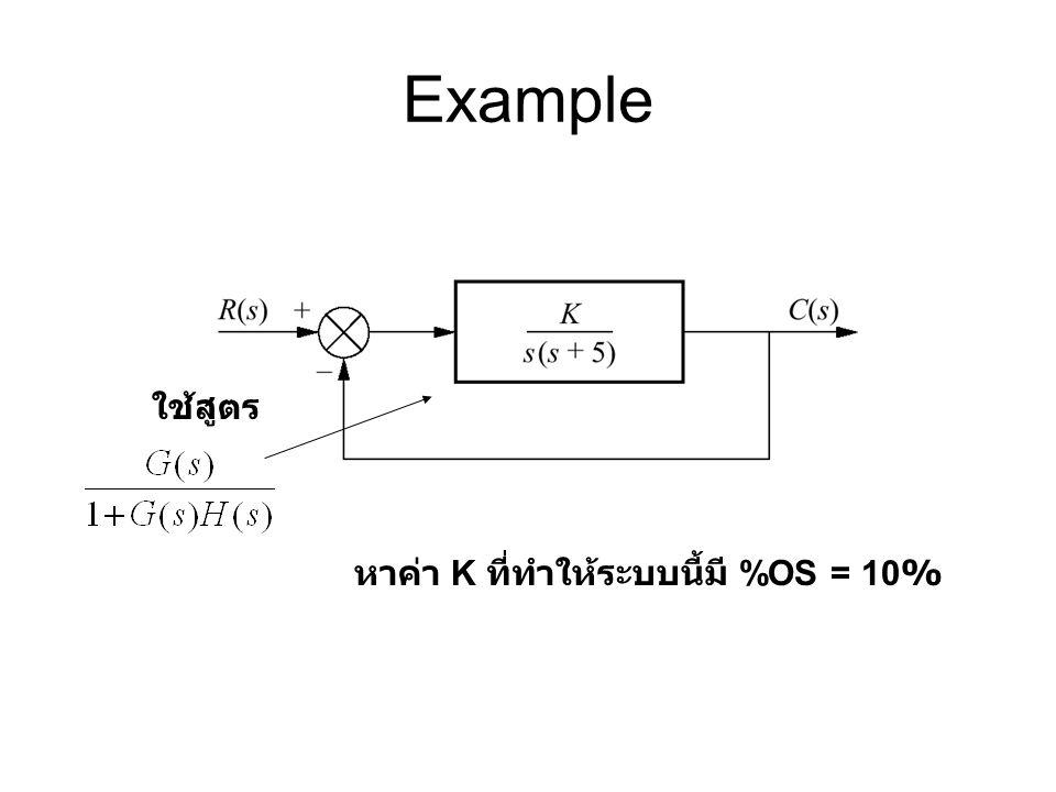 Example ใช้สูตร หาค่า K ที่ทำให้ระบบนี้มี %OS = 10%